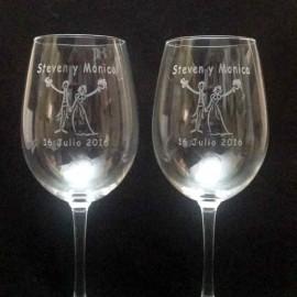Pack Copas Vino personalizadas con dibujo novios fecha y nombres