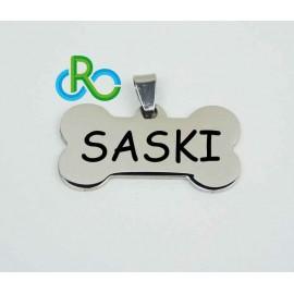 Placa hueso perro de acero personalizada.