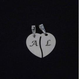 Corazón divisible personalizado plata de ley 925