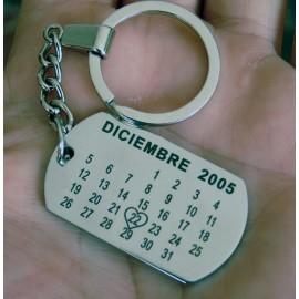 Llavero acero grabado calendario