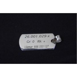 Placa militar plata  de ley  31 x 18 mm